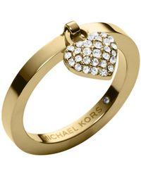 Michael Kors Pavé-embellished Gold-tone Heart Ring - Lyst