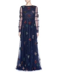 Valentino Butterfly Bead Tulle Gown blue - Lyst