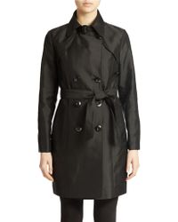 Ellen Tracy Double Breasted Trench Coat - Lyst