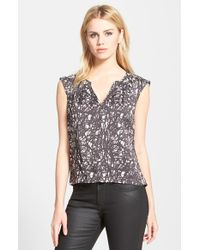 Trouvé Cap Sleeve Print Top - Lyst