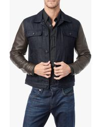 7 For All Mankind Cashmere Denim Jacket W/Leather Sleeves - Lyst