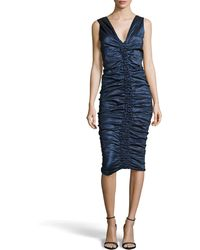 Donna Karan New York Sleeveless Ruched Knee-Length Dress - Lyst