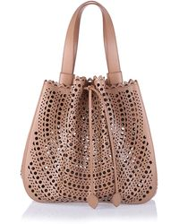 Alaïa Tan Leather Lasercut Bag - Lyst