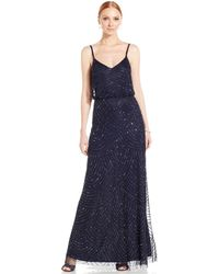 Adrianna Papell Spaghetti-Strap Beaded Blouson Gown - Lyst