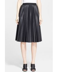 Theory 'Zeyn' Pleated Leather Midi Skirt - Lyst