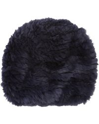 Barneys New York Fur Slouchy Beanie blue - Lyst