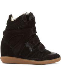 Isabel Marant Black Suede Wedge Sneakers - Lyst