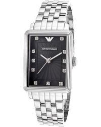 Emporio Armani Mens Silver-tone Steel Black Textured Dial Crystal Markers - Lyst