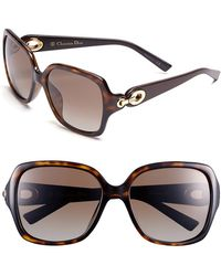 Dior Christian 57Mm Polarized Sunglasses - Havana - Lyst