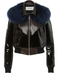 Rodarte | Leather Bomber Jacket With Blue Fox Fur Collar | Lyst