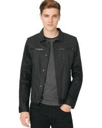 Calvin Klein Gray Coated Jacket - Lyst