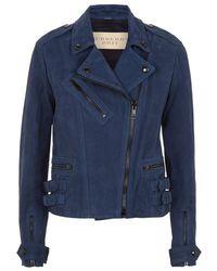 Burberry Brit - Sandfield Nubuck Leather Biker Jacket - Lyst