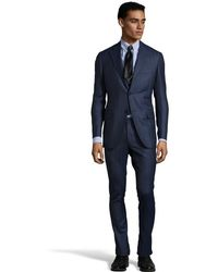 Canali Blue Herringbone Wool 2-button Travel Suit with Pleated Pants - Lyst