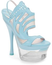 Versace Cutout Leather Platform Sandals - Lyst