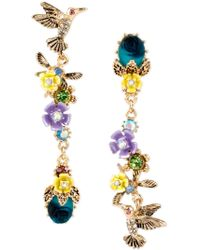 Betsey Johnson | Gold-tone Multi-stone Flower And Hummingbird Mismatch Earrings | Lyst