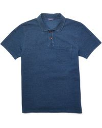 Club Monaco Indigo Tuck Stitch Polo - Lyst