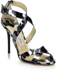Jimmy Choo Lottie Metallic Leopard-Print Leather Sandals silver - Lyst