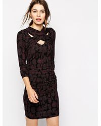 Baum Und Pferdgarten Eldora Dress With Cross Wrap Detail In Feather Print - Lyst