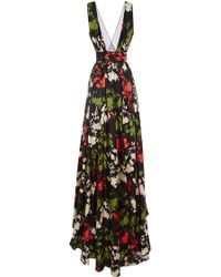 Peter Som Scattered Floral Gown with Sash - Lyst