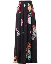 Honor Rose-print Pleated Maxi Skirt - Lyst