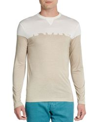 Armani Long-sleeve Colorblock Cotton Tee - Lyst