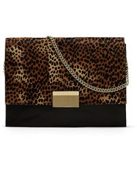 Vince Camuto Caleb - Animal-Print Colorblock Clutch - Lyst