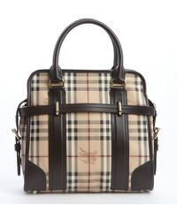 Burberry Chocolate Nova Check Coated Canvas Buckle Detail Convertible Tote - Lyst