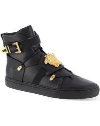 Versace Medusa Leather Hitop Sneakers Black - Lyst