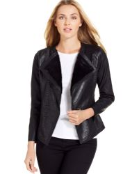 Calvin Klein Jeans Faux Leather Embossed Jacket - Lyst