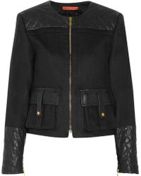 Alice + Olivia Kyla Leather-paneled Wool-blend Felt Jacket - Lyst