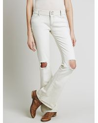 Free People Womens Destroyed 5 Pocket Flare - Lyst