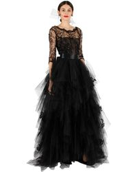 Oscar de la Renta Lace and Tulle Embroidered Gown - Lyst