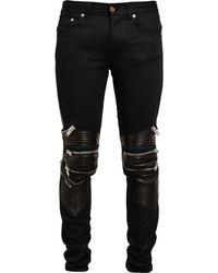 Saint Laurent Denim And Leather Biker Jeans - Lyst