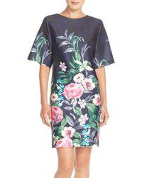 Eliza J | Floral Print Scuba Shift Dress | Lyst
