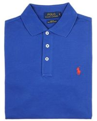 Ralph Lauren Blue Label Blue Polo Shirt With Red Logo - Lyst