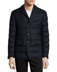 Moncler Rodin Quilted Button-down Jacket blue - Lyst