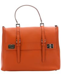 Prada Papaya Leather Buckle Accent Convertible Top Handle Bag - Lyst