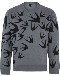 McQ by Alexander McQueen Grey Swallow Print Sweatshirt - Lyst