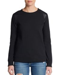 Vince Faux Leather-Trim Sweatshirt - Lyst
