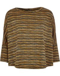 River Island Black Knitted Stripe Top - Lyst