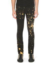Raf Simons Bleach Splatter Slimfit Skinny Jeans Black - Lyst