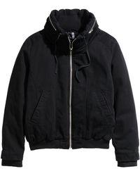 H&M Padded Twill Jacket black - Lyst