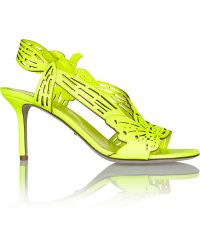 Sergio Rossi Chloris Neon Laser-cut Leather Slingback Sandals - Lyst