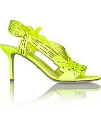 Sergio Rossi Chloris Neon Laser-Cut Leather Slingback Sandals - Lyst
