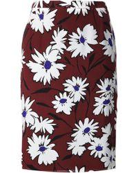 Nina Ricci Floral Print Straight Skirt - Lyst