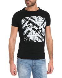 Armani Jeans Black Printed T-Shirt - Lyst