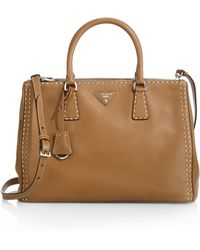 Prada City Calf Topstitched Double-Zip Tote - Lyst