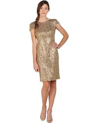 Badgley Mischka Sequin Cowl Back Cocktail Dress - Lyst