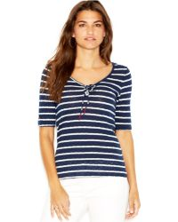 Lucky Brand Jeans Lucky Brand Elbow-Sleeve Scoop-Neck Striped Top - Lyst