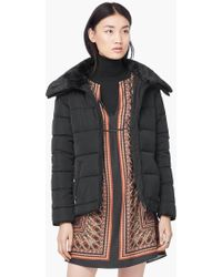 Mango - Side Zip Quilted Coat - Lyst